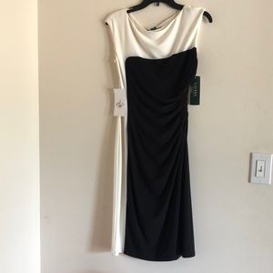 NWT Ralph Lauren black & white draped dress